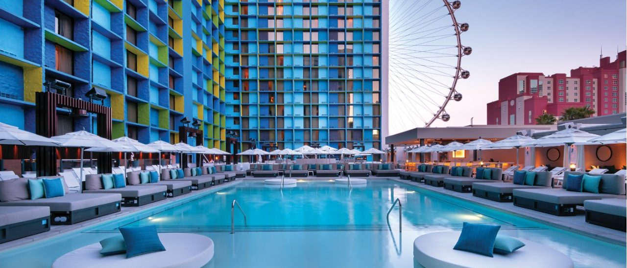 Photo Of The Pool Showing Lounge Chairs, Cabanas And High Roller At The Linq Las Vegas