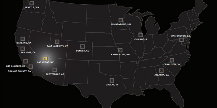 Map of the United States With CAESARS FORUM Roadshow Stops