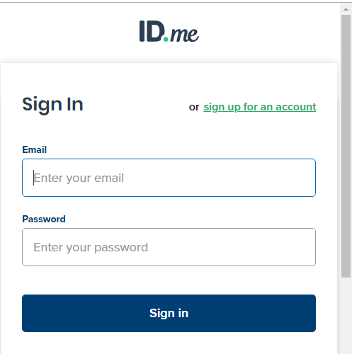 IDme Sign in form in the booking engine