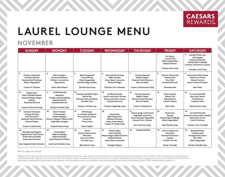 Caesars Windsor Diamond Lounge Menu