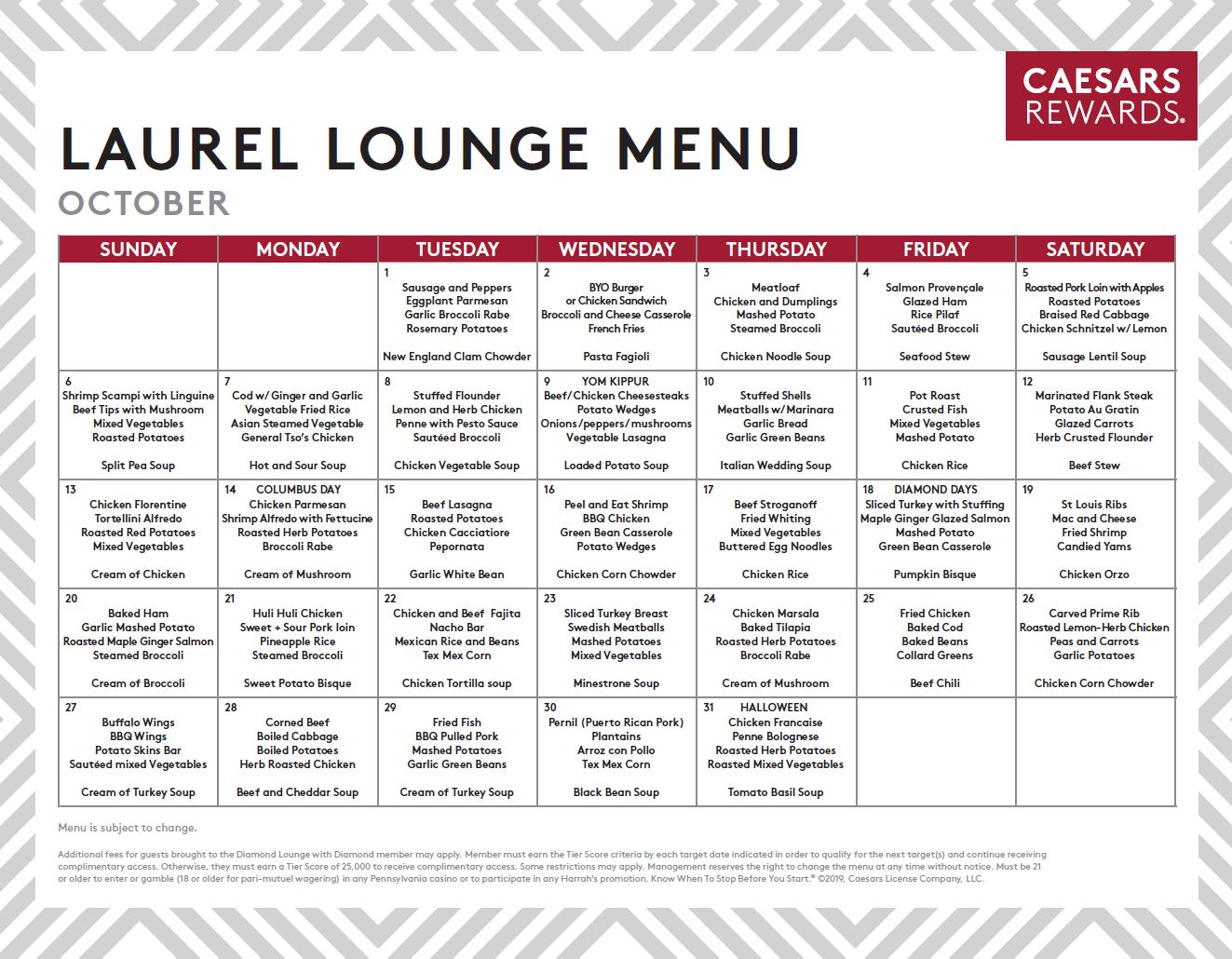 Caesars Windsor Diamond Lounge Menu