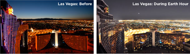 Las Vegas Before and After earth hour.