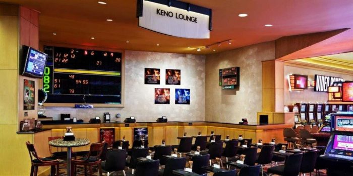 View Inside The Keno Lounge Showing Tables, Chairs, And Number Board On The Wall Inside Bally's Las Vegas Casino