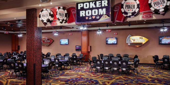 View Of The Poker Room Showing Poker Tables And Chairs Inside Harrah's North Kansas City