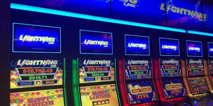 View Of Lightning Link Slot Machines Inside The Casino At Harrah's North Kansas City
