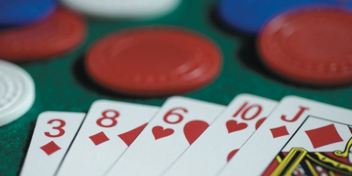 Red Playing Cards with Poker Chips