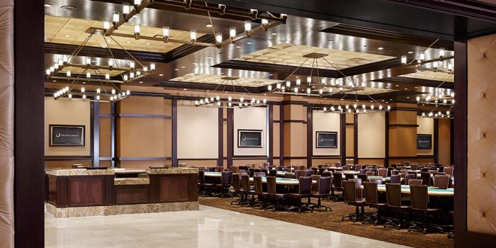 View Inside The Poker Room Showing Gaming Tables At Horseshoe Baltimore