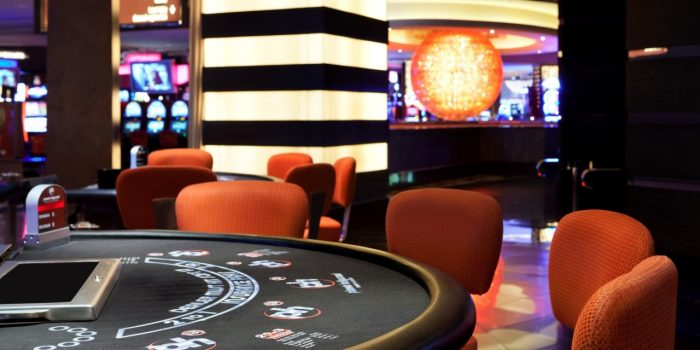 View Inside Planet Hollywood Casino Showing A Black Jack Table Game
