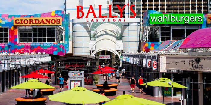 People Walking Around The Grand Bazaar Shops Located Outside Of Bally's Las Vegas