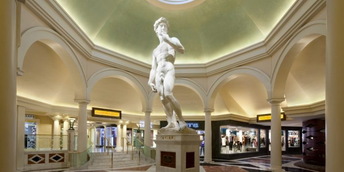 View Of Hotel Foyer Showing A Male Statue And Forum Shops Inside Caesars Palace Las Vegas