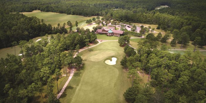 grand bear golf course aerial of clubhouse