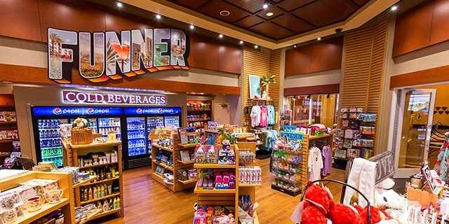 Interior View Of The Emporium Showing Beverages, Sees Candies, Snacks, And Merchandise On Display At Harrahs Southern California