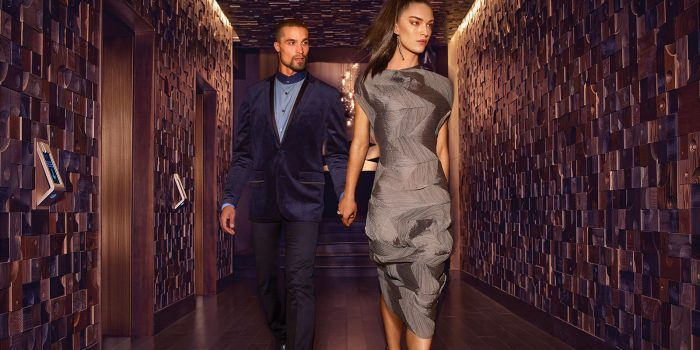 Photo Of A Couple Walking Down The Hallway Inside The Nobu Hotel At Caesars Palace