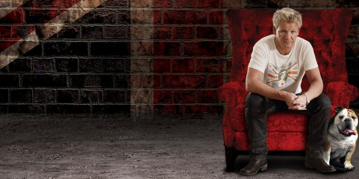 Photo Of Gordon Ramsay Sitting In A Red Chair Posing With His Dog At Caesars Palace Las Vegas
