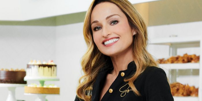Image of Giada standing in front of Pronto By Giada restaurant at Caesars Palace Las Vegas