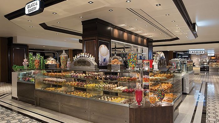 Image Of Fulton Street Food Hall S Bakery Showing Cases Filled With Desserts And Gelato Located Inside