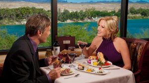 Enjoying Dinner And Wine With River View At Range Steakhouse Inside Harrah S Laughlin