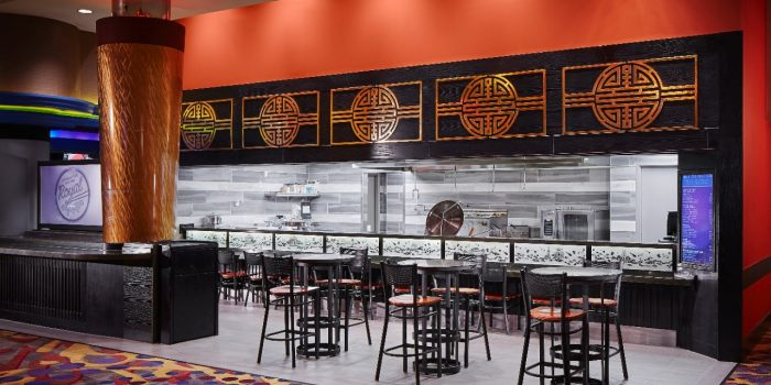 View Inside The Royal Noodle Bar Showing Tables, Chairs And View Of The Kitchen Inside Harrah's North Kansas City
