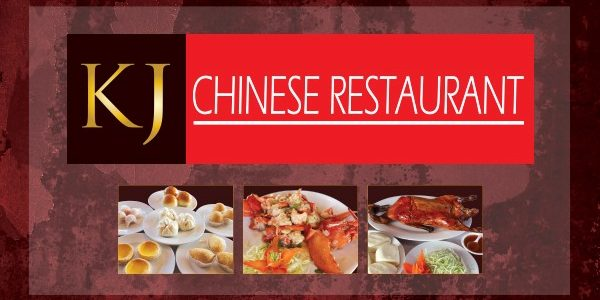 Image Of KJ Restaurant Sign With Pictures Of A Variety Of Chinese Food At Harrah's Southern California