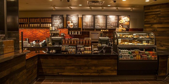 Interior Photo Of Starbuck's Showing Main Counter, Menu And Display Cases Inside Harrah's Southern California