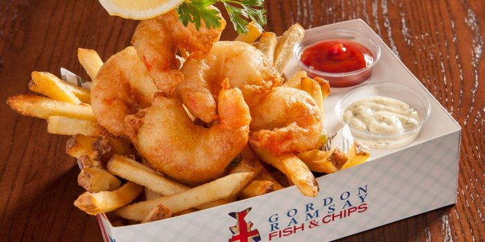 Shrimp and Chip combo from Gordon Ramsay's Fish and Chips located at the LINQ Promenade